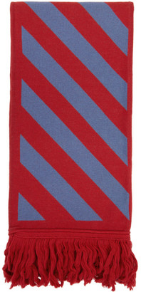 Off-White Red and Blue Diag Scarf
