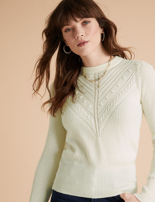 Marks and Spencer Cable Knit Crew Neck Jumper with Wool