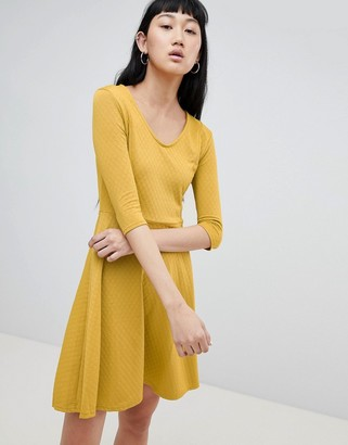 B.young V Neck Skater Dress-Yellow