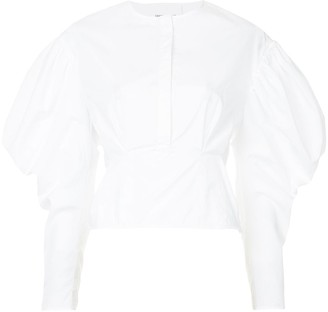 Georgia Alice Cloud collarless gigot-sleeved shirt