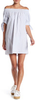 Hip Off-the-Shoulder Stripe Shift Dress