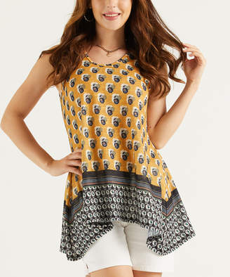 Suzanne Betro Weekend Women's Tank Tops 108YELLOW - Yellow & Black Scarf Print Sleeveless Sidetail Tunic - Women & Plus