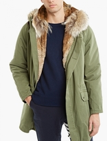 Yves Salomon Olive Rabbit-fur Lined Parka