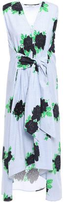 Ganni Pine Tie-front Embellished Printed Cotton-poplin Dress