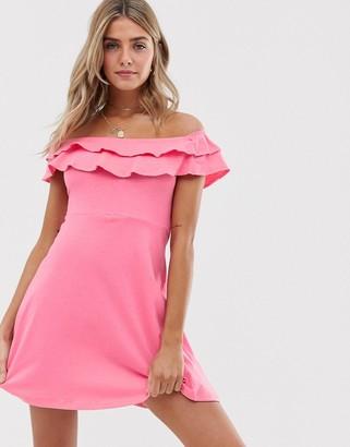 Asos Design DESIGN double frill off shoulder sundress-Pink