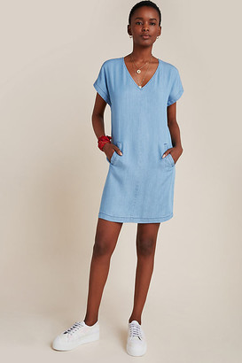 Porridge Darla Chambray Shift Dress By in Blue Size XS