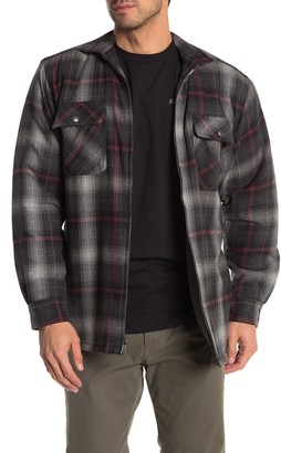 Wolverine Marshall Plaid Flannel Zip Faux Shearling Lined Shirt Jacket