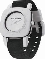 Converse VR021001 1908 Regular Square White Analog Dial and Black Canvas Pull Through Strap Watch