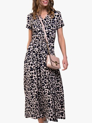 Jolie Moi Tie Neck Short Sleeve Animal Print Dress, Animal