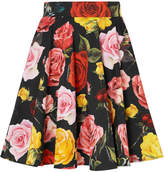 Dolce & Gabbana Floral-print Cotton-poplin Mini Skirt - Black