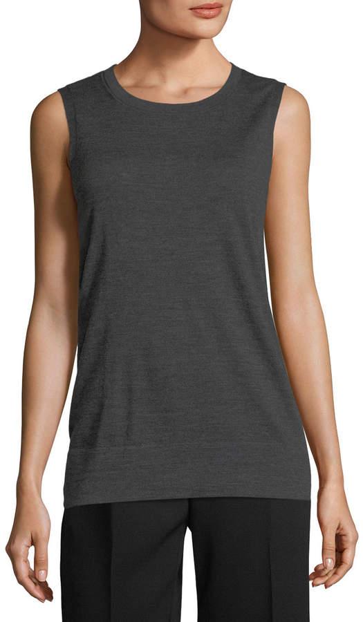 Lafayette 148 New York Sleeveless Sheer-Trim Merino Sweater