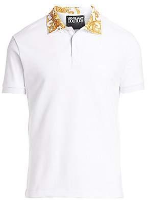 Versace Men's Baroque Collar Polo Tee