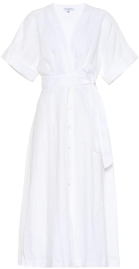 Equipment Nauman linen wrap midi dress