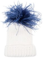 Eugenia Kim Rain Winter Beanie Hat w/ Feather Pom-Pom, White/Blue