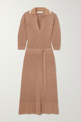 Chloé Belted Melange Wool And Silk-blend Midi Dress - Beige