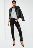 Missguided Black High Rise Destroyed Hem Studded Jeans