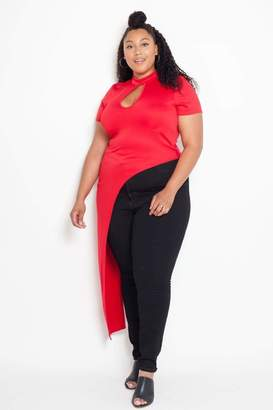 Couture Buxom Asymmetrical Mandarin Top in Red Size 3X