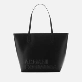 Armani Exchange Women's Maddie Debossed Logo Tote Bag - Black