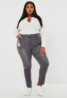 Missguided Plus Size Gray Distressed Skinny Jeans