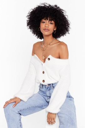Nasty Gal Womens Knit's Your Thing V-Neck Cardigan - White - L