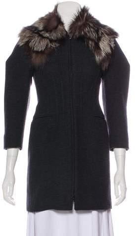 Miu Miu Fox Fur-Trimmed Virgin Wool Coat
