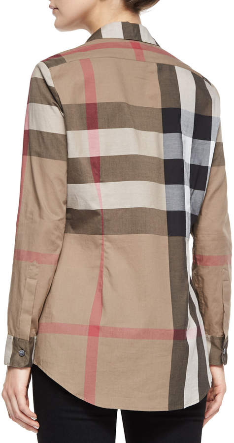 Burberry Long-Sleeve Button-Front Check Shirt, Taupe