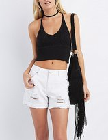 Charlotte Russe Cropped Racerback Sweater