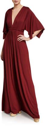 Rachel Pally Plus Size Plunge-Neck Dramatic-Sleeve Jersey Caftan Dress