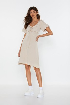 Nasty Gal Amp It Up Lace-Up Puff Dress