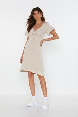 Nasty Gal Womens Amp It Up Lace-Up Puff Dress - Beige - L, Beige