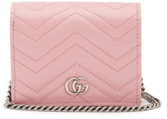 Gucci GG Marmont Chain Quilted-leather Wallet - Pink