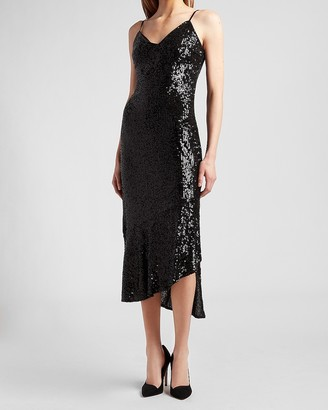 Express Sequin Ruffle Hem Midi Dress