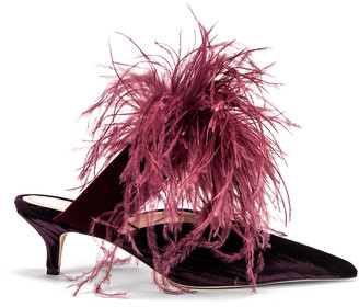 Silvia Tcherassi x Gia Couture Bandana Girl Feather Slide in Plum | FWRD