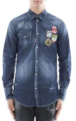 DSQUARED2 Men's Blue Cotton Shirt