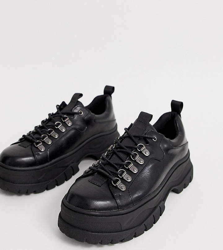 757a8677824 Design DESIGN Wide Fit lace up shoes in black faux leather with chunky sole