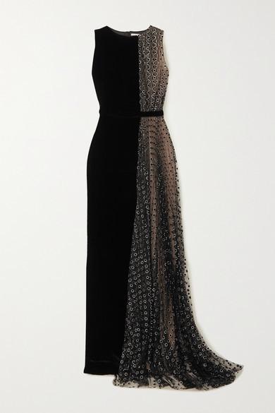 RALPH & RUSSO Velvet And Glittered Polka-dot Flocked Tulle Gown - Black