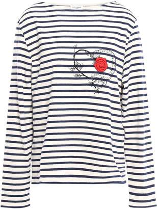 Saint Laurent Embroidered Striped Cotton-jersey Top