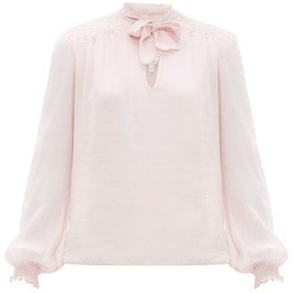 Giambattista Valli Lace-panel Pussybow Silk Blouse - Womens - Pink
