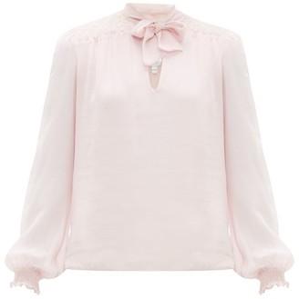 Giambattista Valli Lace Panel Pussybow Silk Blouse - Womens - Pink