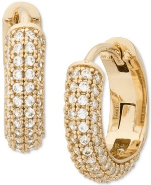 """Kate Spade Gold-Tone Small Pave Huggie Hoop Earrings, 0.62"""""""