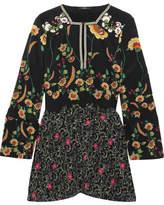 Etro Floral-print Silk Crepe De Chine Blouse - Black