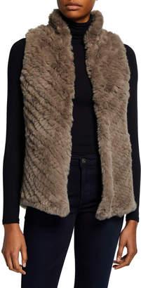 Neiman Marcus Faux Fur Mandarin Collar Vest