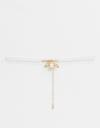 ASOS DESIGN choker necklace with pearl angelic heart pendant in gold tone