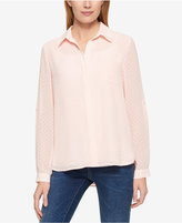Tommy Hilfiger Tab-Sleeve French Dot Shirt, Only at Macy's