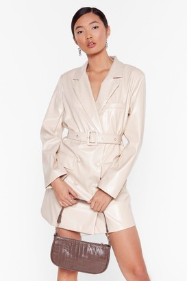 Nasty Gal Womens Faux Leather Too Busy Blazer Mini Dress - Beige - 14