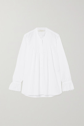 Chloé Gathered Broderie Anglaise Cotton-poplin Blouse - White