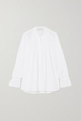Chloé Gathered Broderie Anglaise Cotton-poplin Blouse