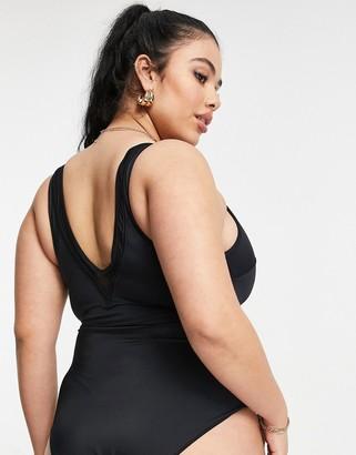 ASOS DESIGN Curve mesh insert swimsuit in black