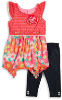 Nannette Girls 2-6x Floral and Lace Dress and Leggings Set