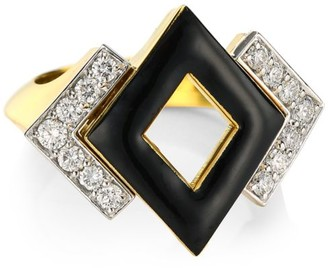 David Webb Motif 18K Yellow Gold, Black Enamel & Double Diamond Ring